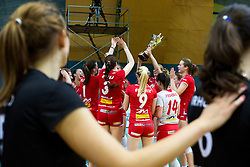 Tamara Borko of Calcit Volleyball watching players of Nova KBM Branik celebrate victory during volleyball match game between Calcit Kamnik and NKBM Branik in 3rd leg of Finals of Slovenian National Championship 2014, on April 5, 2014 in Sportna dvorana, Kamnik, Slovenia. Photo by Matic Klansek Velej / Sportida