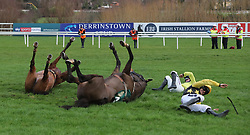 Bacardys ridden by Ruby Walsh and Borderline Chatho ridden by Donagh Meyler fall at the last during The Ballymaloe Foods Beginners Steeplechase during day three of the Leopardstown Christmas Festival at Leopardstown Racecourse.