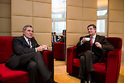 L-R: GDF Suez CEO and Paris Europlace Chairman Gerard Mestrallet, French Financial Markets Authority Chairman Jean-Pierre Jouyet, before Shanghai / Paris Europlace Financial Forum, in Shanghai, China, on December 1, 2010. Photo by Lucas Schifres/Pictobank