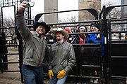 Professional Bull Riders Matt West and Matt Triplett pose for a selfie during a presentation with 2020 Professional Bull Riding (PBR) Tour and Special Olympics Illinois (SOILL) in Chicago, Friday, Jan. 10, 2020, in Chicago in Maggie Daley Park. (Melissa Tamez/Image of Sport via AP)