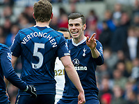 Football - 2012 / 2013 Premier League - Swansea City vs.Tottenham Gareth Bale celebrates with the scorer of Spurs' 1st goalJan Vertonghen.