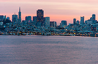 United States, California, San Francisco. The San Francisco cityscape at sunset, viewed from Alcatraz.