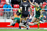 Australia's Josh Dugan gets over to score a try during the Ladbrokes Four Nations match between Australia and New Zealand at Anfield, Liverpool, England on 20 November 2016. Photo by Craig Galloway.
