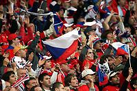 GEPA-0706086044 - BASEL,SCHWEIZ,07.JUN.08 - FUSSBALL - UEFA Europameisterschaft, EURO 2008, Schweiz vs Tschechien, SUI vs CZE. Bild zeigt tschechische Fans. Keyword: Fahne, Schal.<br />Foto: GEPA pictures/ Philipp Schalber