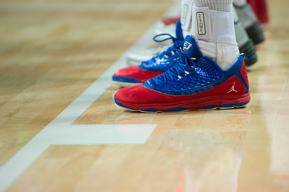 DALLAS, TX - JANUARY 4: A pair of Jordan sneakers worn by the SMU Mustangs against the Connecticut Huskies on January 4, 2014 at Moody Coliseum in Dallas, Texas.  (Photo by Cooper Neill) *** Local Caption ***