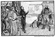 Andrew Jackson (1767-1845), 7th president of the USA (nickname 'Old Hickory'), as President-elect, 1828, receiving a complimentary address from admirers during his journey to Washington. Engraving from 'Harper's Weekly', 1879.