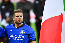 Dean Budd of Italy during the national anthem<br /> <br /> Photographer Craig Thomas/Replay Images<br /> <br /> Quilter International - England v Italy - Friday 6th September 2019 - St James' Park - Newcastle<br /> <br /> World Copyright © Replay Images . All rights reserved. info@replayimages.co.uk - http://replayimages.co.uk