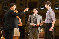 """© Licensed to London News Pictures. 24/10/2014. London, England. John Dagleish as Ray Davies (right). Photocall for The Kinks Musical """"Sunny Afternoon"""" at the Harold Pinter Theatre, London, UK. Photo credit: Bettina Strenske/LNP"""