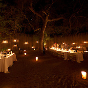 Dinner at Londolozi Game Reserve, South Africa.