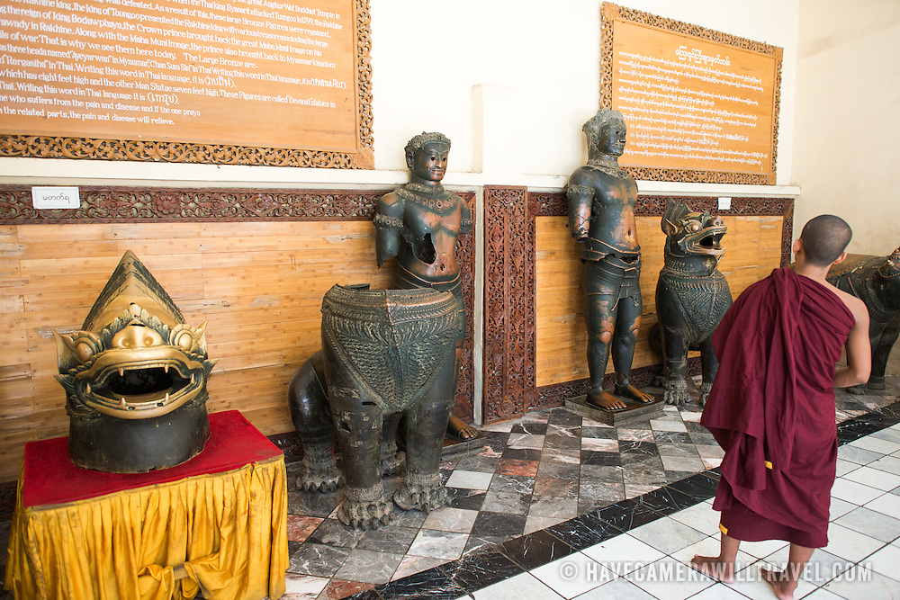 Large bronze figures that were originally from Angkor Wat (Cambodia) and arrived in Myanmar via Thailand in 1563. Mahamuni Buddha Temple (also known as Mahamuni Pagoda) is a highly revered religious site in Mandalay. At its heart is the Mahamuni Buddha image, reputed to be one of only five original likenesses of the Buddha made during his lifetime. It is covered in gold foil donated as tributes by worshippers and pilgrims.