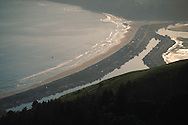 Hang glider over Pacific Ocean, Stinson Beach, and Bolinas Lagoon, from Mount Tamalpais, Marin County, California