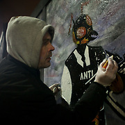 Street artist Gee makes his piece for Art Under The Hood - Street Art and Graffiti, a Sowing Seeds project in Hackney Road. Sowing Seed is a street art project working legit across London. The project seeks out spaces suitable for street art and obtains permission from local authorities and respective owners.