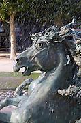 The Monument aux Girondins. Detail horses. Esplanade des Quinconces. Bordeaux city, Aquitaine, Gironde, France
