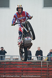 Trials demonstration at Motor Bike Expo. Verona, Italy. Saturday January 20, 2018. Photography ©2018 Michael Lichter.