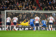Italy Forward Lorenzo Insigne (10) scores a goal from a penalty (1-1) after Referee Deniz Aytekin checks the VAR during the Friendly match between England and Italy at Wembley Stadium, London, England on 27 March 2018. Picture by Stephen Wright.
