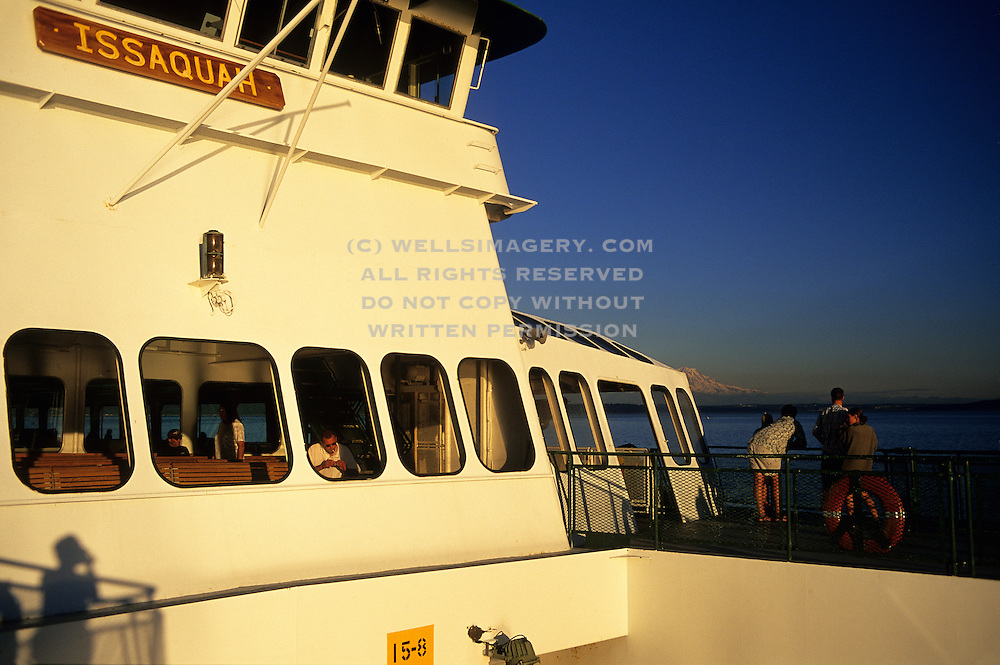 Image of Washington State Ferry enroute from Vashon Island to West Seattle on Puget Sound with Mt. Rainier, Seattle, Washington, Pacific Northwest by Andrea Wells