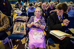 A Ukip supporter does some knitting while attending the annual Ukip conference in Bournemouth.