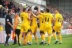 Bristol Rovers celebrates- the goal from Matty Taylor - Mandatory byline: Neil Brookman/JMP - 07966 386802 - 03/10/2015 - FOOTBALL - Globe Arena - Morecambe, England - Morecambe FC v Bristol Rovers - Sky Bet League Two