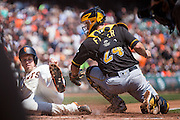 San Francisco Giants catcher Buster Posey (28) beats a tag at home by Pittsburgh Pirates catcher Eric Fryer (24) at AT&T Park in San Francisco, Calif., on August 17, 2016. (Stan Olszewski/Special to S.F. Examiner)