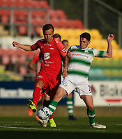 18 July 2019; Fredrik Haugen of SK Brann in action against Dylan Watts of Shamrock Rovers during the UEFA Europa League First Qualifying Round 2nd Leg match between Shamrock Rovers and SK Brann at Tallaght Stadium in Dublin. Photo by Eóin Noonan/Sportsfile