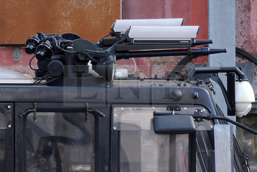 © Licensed to London News Pictures. 15/02/2016<br /> A Metropolitan Police branded water cannon parked at a yard in Gravesend, Kent. Two Metropolitan Police water cannons with a new paint job and Met Police logo on the side have been spotted at the Metropolitan Police Specialist Training facility. Home secretary Theresa May had refused to allow the use of water cannon in England and Wales. Photo credit: Grant Falvey/LNP