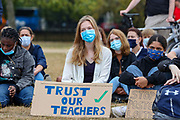 """Young people holding placards gathered to protest nearby the Speaker's Corner in Green Park, Central London on Saturday, Aug 15, 2020 - following the Government's poor handling of exam results in Britain.<br /> Despite growing anger among pupils and teachers, the prime minister Boris Johnson insisted he had full confidence Gavin Williamson education secretary. Johnson has shrugged off protests that the A-levels process has been a fiasco, describing the results as """"robust"""" and """"dependable"""". (VXP Photo/ Vudi Xhymshiti)"""