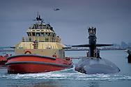 Dallas Class attack sub pulling into dock+US Navy Submarine Base San Diego Point Loma, San Diego, CALIFORNIA