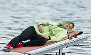 Poznan. Poland. Boat holder finds a moment to relax between heats, at the FISA 2015 European Rowing Championships. Venue Lake Malta. 29.05.2015. [Mandatory Credit: Peter Spurrier/Intersport-images.com]