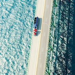 Aerial views of Mackinac Bridge, UP  of Michigan