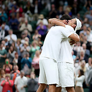 LONDON, ENGLAND - JULY 15: Lucasz Kubot of Poland and Marcelo Melo of Brazil celebrate after winning the Men's Doubles Final on Center Court during the Wimbledon Lawn Tennis Championships at the All England Lawn Tennis and Croquet Club at Wimbledon on July 15, 2017 in London, England. (Photo by Tim Clayton/Corbis via Getty Images)