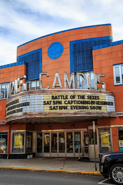 Lewisburg, PA / USA - November 4, 2017: Built in 1941, the Campus is a historic art deco movie house showing first run & classic films with special BYOB screenings in the downtown area.