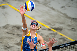 Barbora Hermannova CZE in action during the third day of the beach volleyball event King of the Court at Jaarbeursplein on September 11, 2020 in Utrecht.