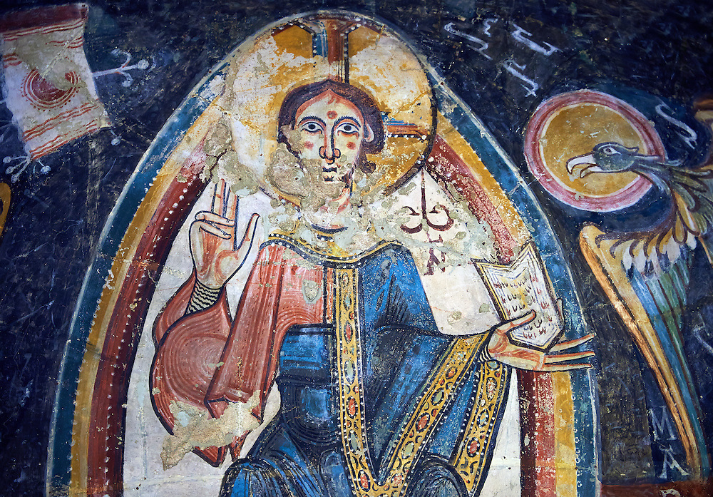 Romanesque frescoes depicting Christ Pantocrator from the Church of Sant Miguel d'Engolasters, Les Escaldes, Andorra.. Painted around 1160. National Art Museum of Catalonia, Barcelona. MNAC 15972 .<br /> <br /> If you prefer you can also buy from our ALAMY PHOTO LIBRARY  Collection visit : https://www.alamy.com/portfolio/paul-williams-funkystock/romanesque-art-antiquities.html<br /> Type -     MNAC     - into the LOWER SEARCH WITHIN GALLERY box. Refine search by adding background colour, place, subject etc<br /> <br /> Visit our ROMANESQUE ART PHOTO COLLECTION for more   photos  to download or buy as prints https://funkystock.photoshelter.com/gallery-collection/Medieval-Romanesque-Art-Antiquities-Historic-Sites-Pictures-Images-of/C0000uYGQT94tY_Y