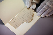 Fragment of a letter from an Auschwitz prisoner which was found during the conservation process  in a children shoe. The owners of most of the objects can not be identified, but some belongings were after the war donated to the museum by former prisoners or their families.