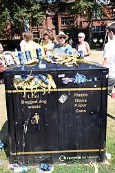 Overflowing rubbish bin in Chapelfield Gardens after Run Norwich, Norwich UK 2018