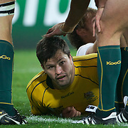 Adam Ashley-Cooper, Australia is congratulated by team mates after completing his hat trick during the Australia V USA, Pool C match during the IRB Rugby World Cup tournament. Wellington Stadium, Wellington, New Zealand, 23rd September 2011. Photo Tim Clayton...