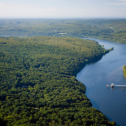 The Connecticut River in Portland, Connecticut.  Aerial.