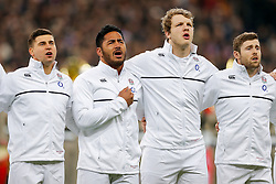 England Scrum-Half Danny Care, replacement Manu Tuilagi and replacement Joe Launchbury sing the National Anthem - Mandatory byline: Rogan Thomson/JMP - 19/03/2016 - RUGBY UNION - Stade de France - Paris, France - France v England - RBS 6 Nations 2016.