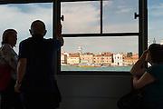 Boat taxi stop on the Canale della Giudecca, Venice, Italy, Europe