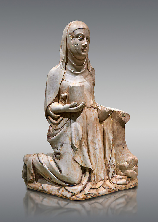 Gothic marble statue of Mary Magdelane (Magdelena) by Mestre de Pedralbes of Barcelona, 2nd half of 14th Century, from the cemetery of the cathedral of Barcelona.  National Museum of Catalan Art, Barcelona, Spain, inv no: MNAC  9797. .<br /> <br /> If you prefer you can also buy from our ALAMY PHOTO LIBRARY  Collection visit : https://www.alamy.com/portfolio/paul-williams-funkystock/gothic-art-antiquities.html  Type -     MANAC    - into the LOWER SEARCH WITHIN GALLERY box. Refine search by adding background colour, place, museum etc<br /> <br /> Visit our MEDIEVAL GOTHIC ART PHOTO COLLECTIONS for more   photos  to download or buy as prints https://funkystock.photoshelter.com/gallery-collection/Medieval-Gothic-Art-Antiquities-Historic-Sites-Pictures-Images-of/C0000gZ8POl_DCqE