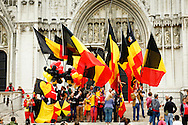 Belgiums National Day  in Brussels July 21, 2012. Belgium celebrates its national day and its 182nd anniversary of independence on this Saturday. THE SAINT MICHAEL and SAINT GUDULA CATHEDRAL with nationalist and Belgian flags on its stairs.