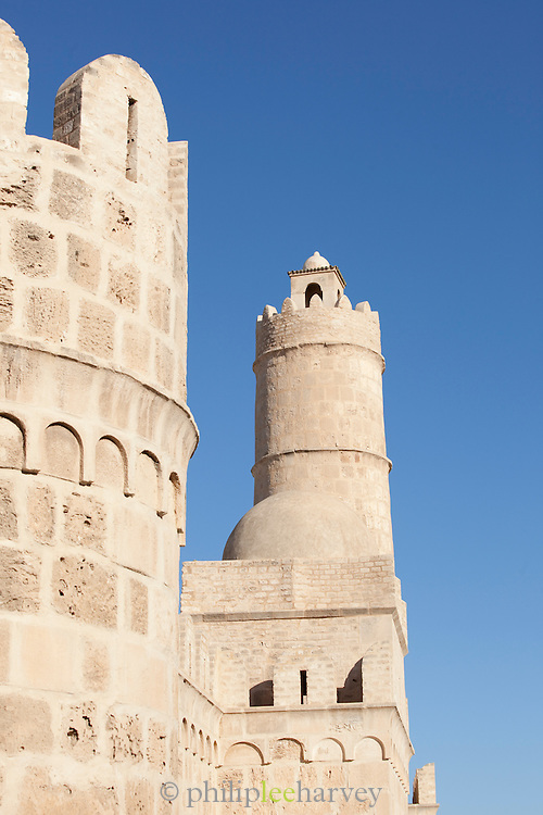 The Ribat of Sousse, in the old medina of Sousse, a UNESCO World Heritage Site, in Sousse, Tunisia