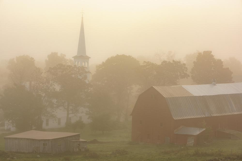 Foggy morning in Peacham, Vermont