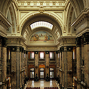 South America, Uruguay, Montevideo, Capitol building, vast expanses of native marble and soaring arches.