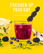 Non-alcoholic fruit cocktail advertising.