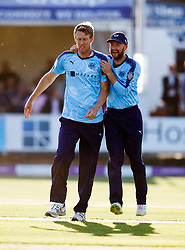 Yorkshire's Steven Patterson (left) celebrates taking the wicket of Essex's Ravi Bopara for 8 during the One Day Cup, Quarter Final at the Cloudfm County Ground, Essex.