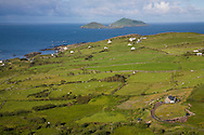 View from Darrynane over farmers fields out to Scarriff Island, County Kerry