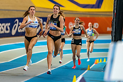 Jetske van Kampen, Anne Knijnenburg in action on the 1500 meter during AA Drink Dutch Athletics Championship Indoor on 20 February 2021 in Apeldoorn.