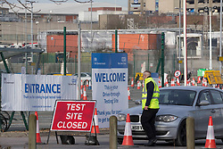 """© Licensed to London News Pictures.13/02/2021, London, UK. A general view of the drive-through testing centre near Heathrow Airport in West London. Arriving passengers from 22 """"red list"""" countries need to quarantine in the hotel rooms to prevent a new spread of coronavirus. Photo credit: Marcin Nowak/LNP"""