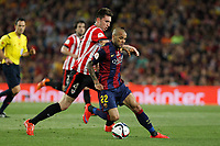 Barcelona´s Dani Alves and Athletic de Bilbao´s Aymeric Laporte during 2014-15 Copa del Rey final match between Barcelona and Athletic de Bilbao at Camp Nou stadium in Barcelona, Spain. May 30, 2015. (ALTERPHOTOS/Victor Blanco)